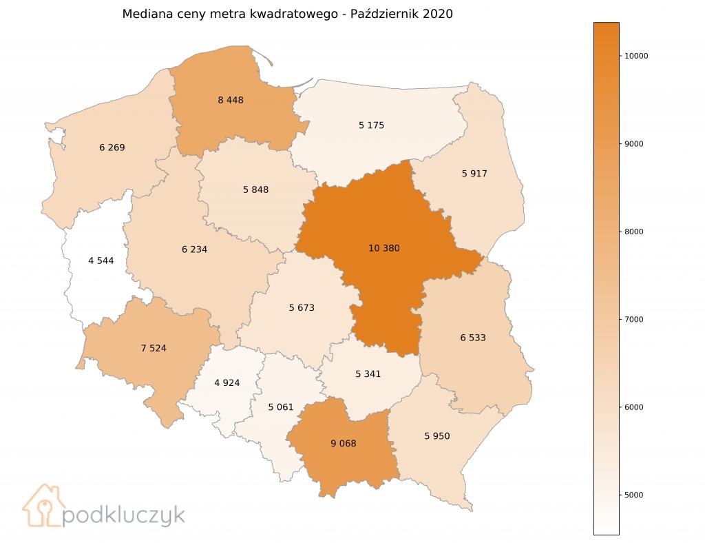 NIEWIELKIE SPADKI CEN MIESZKAŃ W PAŹDZIERNIKU - województwa