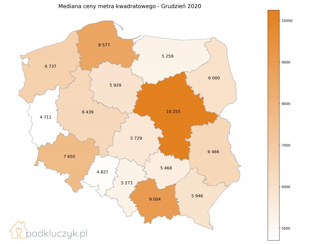 Ceny nieruchomości na koniec 2020 - województwa