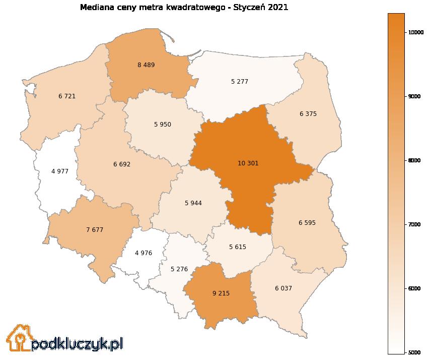 ceny nieruchomości w Polsce - województwa