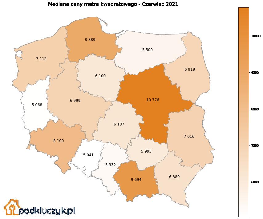 bańka na rynku nieruchomości w Polsce - mapa
