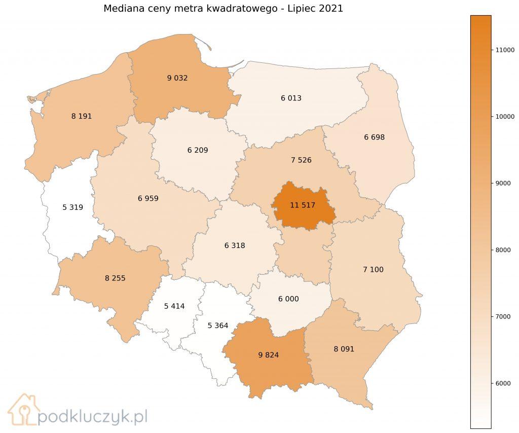 bańka na rynku nieruchomości - mapa Polski z okręgiem Warszawskim