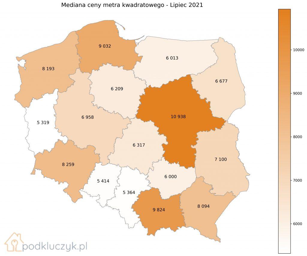 Bańka na rynku nieruchomości - mapa wojewódzka Polski